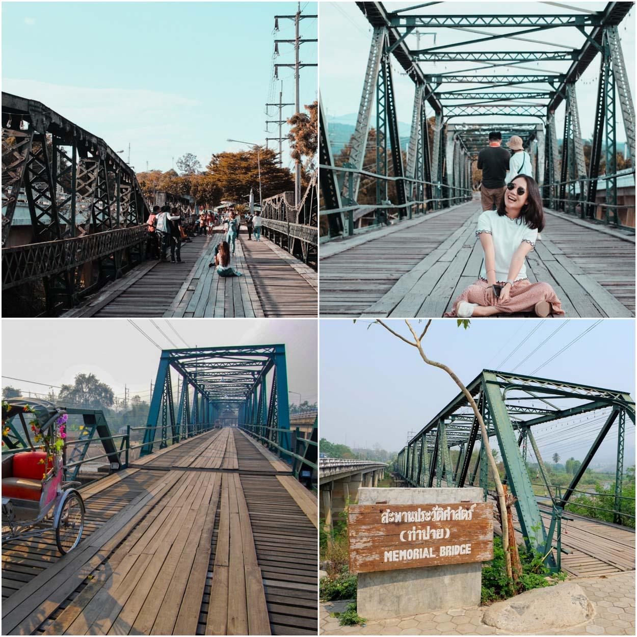 สะพานประวัติศาสตร์ปาย ชมสะพานเก่าแก่ที่สร้างตั้งแต่สมัยสงครามโลกครั้งที่2 มีทั้งความสวยงามของตัวสะพานที่อยู่ระหว่างแม่น้ำและวิวภูเขารอบๆ อีกทั้งของกินอร่อยๆมากมายของจังหวัดแม่ฮ่องสอน